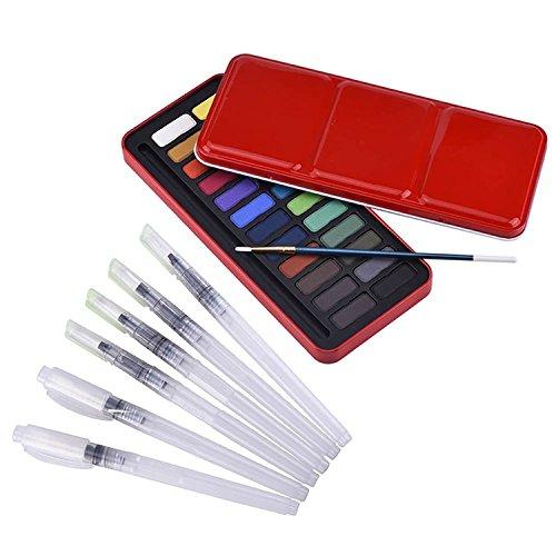 Aquarellfarben set - 24 kräftige Farben Mit Pinsel 6 Wasserpinsel,Perfekt für Hobbymaler und...