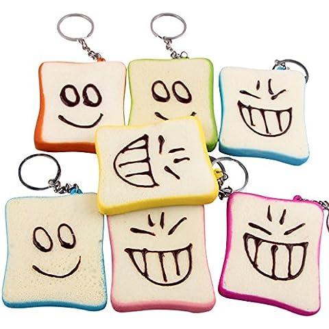 REALACC Squishy Slice Toast Joy Happy Faces Mobile Phone Bag Strap Pendant Charms Cellulari Decorazioni Morbide In Stile