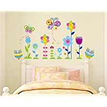 ufengke® Gufi Cartone Animato Farfalle e Fiori Adesivi Murali, Camera dei Bambini Vivai Adesivi da Parete Removibili/Stickers Murali/Decorazione Murale - Fiori E Farfalle