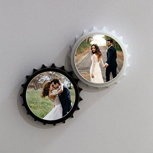 Geschenke Valentines Foto Day (Jet Print Persönlichen Krone Gap geformte Magnetverschluss Flasche Öffner Ihr Text hinzufügen oder Foto, tolles Geschenk schwarz)