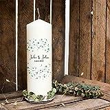 ilka parey wandtattoo-welt Hochzeitskerze Kerze zur Hochzeit Trauung Traukerze mit Namen Wunschnamen, Datum & Konfetti wk76 - ausgewählte Farbe: *taubenblau*