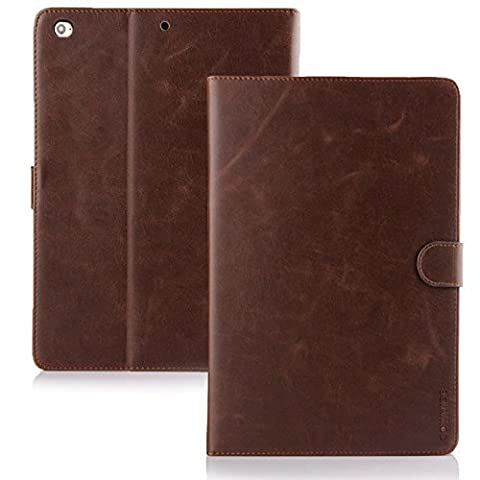 Cowhide European Jazz® Heavy Duty Cowhide Cuba Business Case for Apple iPad Air 2Robust Design with Folding Stand and Card and Money Slots in Antique Brown