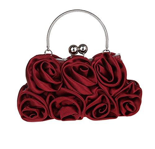 Heyjewels Damen Blumen Clutchtasche Partytasche Abendtasche Handtasche mit Kette (Burgunderrot) (Seide Handtasche)