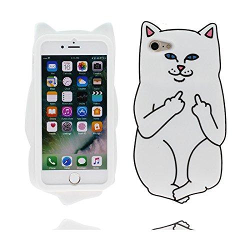 iPhone 6S Custodia, iPhone 6 Copertura 4.7, Carina TPU Case Cartoon 3D Cover ( Cartoon gatto ) shell morbido bianca bianca
