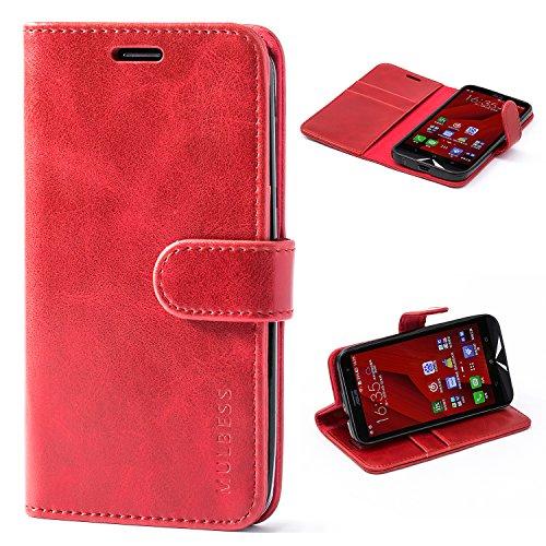 Mulbess Handyhülle für Asus ZenFone 2 ZE500KL Hülle, Leder Flip Case Schutzhülle für Asus ZenFone 2 ZE500KL Tasche, Wein Rot