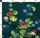 Origami, Frosch, Grünblau, Rote Blume, Teich, Japanisch,