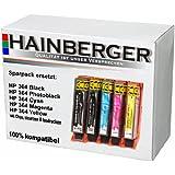Hainberger Lot de 5 cartouches XXL avec jauge pour imprimante HP, équivalent du modèle HP 364 XXL