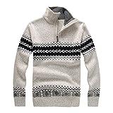 NPRADLA 2018 Pullover Weihnachten Herren Druck Langarm Bluse Zipper Shirt Top(L/40,Weiß)