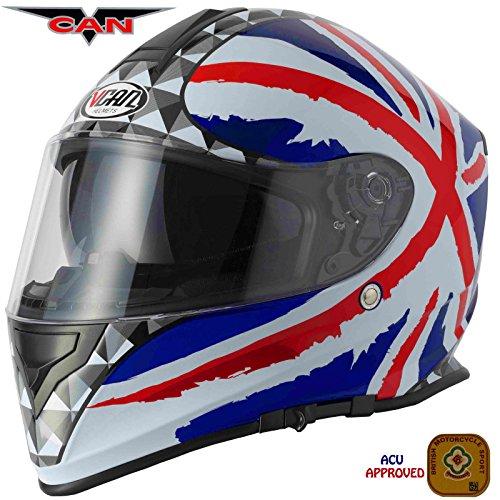 Nuovo caschi moto :vcan v127 union jack moto casco integrale, casco da corsa motocicletta, sportivo casco touring doppia visiera con balaclava (xs)