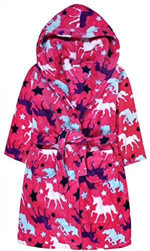 Jolly Rascals - Albornoz con Capucha para niñas, diseño de Unicornio, Color Rosa y Negro, para niños de 7 a 9 a 11 a 13 años Rosa Rosa 7-8 Años