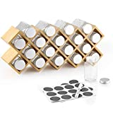 Ecooe Bambus Gewürzregal Gewürzständer für Küchenschrank und Arbeitsfläche aus 18 Gewürzgläsern und Labeln Gläser mit Aluminium