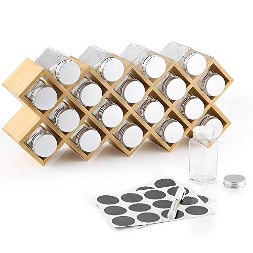 ecooe Bambus Gewürzregal Gewürzständer für Küchenschrank und Arbeitsfläche aus 18 Gewürzgläsern und Labeln Gläser mit Aluminium - Spice Rack