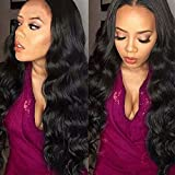 (60cm ) - Body Wave Lace Front Wigs Human Hair with Baby Hair for Black Women Brazilian Virgin Remy Hair 100% Unprocessed Real Hair 130% Density (60cm , Natural Black)