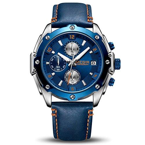 Orologio da uomo cronografo luminoso da uomo al quarzo con cinturino in vera pelle blu calendario automatico impermeabile