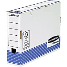 Bankers Box 00237 - Caja de archivo definitivo automático, folio, lomo 80 mm, blanco / azul