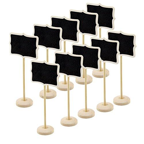 10 Stück Mini Holz rechteckigen Kreidetafel schwarzes Brett, auf Stick stehen Holder Hochzeit Event Party Dekorationen Nachricht Board Halter platzieren Rechteck mit Tipps
