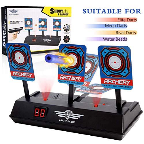 Meiqils Diana Compatible para Nerf, Disparos automáticos Target de los niños Juguete con Pantalla LCD Efecto de Sonido con luz Inteligente Compatible para Balas de Nerf Soft Juegos