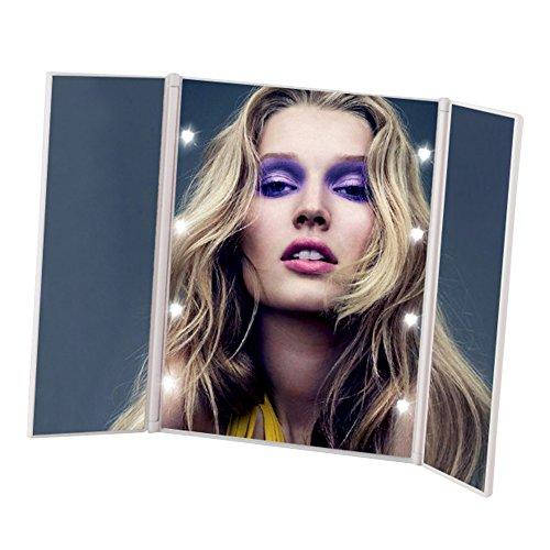 Pingenaneer Tri-Fold Travel Makeup Mirror Specchio Cosmetico con 8 LED Llluminazione Ideale per Viaggio, Rasatura, Trucco(Bianca)