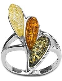 Noda anillo de plata con ámbares multicolores Gota
