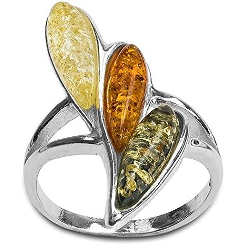 Noda-Anello a forma di goccia, argento Sterling e ambra