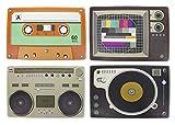 Juego de 4 manteles individuales estampados en América, de estilo retro, decorados por Hi-Fi antiguo estilo, manteles para mesa, manteles higiénicos, protectores, decorativos, dimensiones 43,5 x 28,5