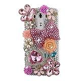 EVTECH (TM) con fiocco rosa in rilievo, realizzato a mano, motivo: corona con strass, motivo floreale, custodia rigida per LG G3 D850 VS985 D851 Optimus, modello 2014, 100% realizzato a mano)