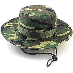 GenialES Sombrero de Pescador Adulto Unisexo Táctico Verano Anti-UV Boonie Hat Mountaña Senderismo Pesca Caza Campo Camuflaje