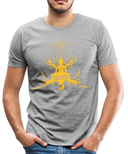 Spreadshirt Buddha Buddhismus Meditation Hinduismus Thailand Männer Premium T-Shirt, 3XL, Grau meliert