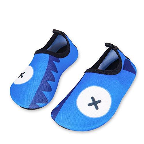 Kinder Strandschuhe Jungen Mädchen Schwimmschuhe Aqua Schuhe Baby Badeschuhe für Beach Pool Surfen Yoga Unisex(Zähne Haifisch Blau,18/19EU)