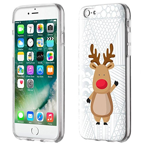 wortek Hülle iPhone 7 Schutzhülle TPU Silikon [X-Mas Design], Case Ultra-Clear Strickmuster Flocken Rot (4,7 Zoll) Rentier