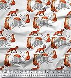Soimoi Weiß Baumwolle Ente Stoff Baumstumpf & Fuchs Tier