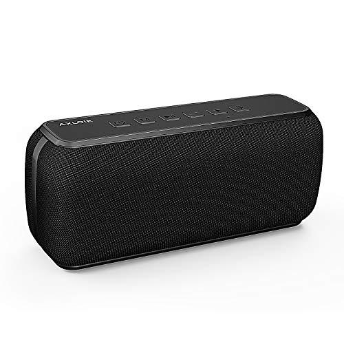 AXLOIE Bluetooth Lautsprecher 5.0 Storm, 50W Bluetooth Speaker mit Tri-Bass-Effekten und 360° TWS Stereo Sound, IPX5 Wasserfest, 15 Stunden Spielzeit und 18m Reichweite für iOS, Android, TV