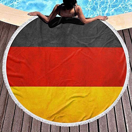 Olga Vaughan Rundes Badetuch für Frauen Mädchen, Deutschland Flagge Hippie Happy Youth Handtuch Extra Large Sand Proof Blanket Matte mit Quasten