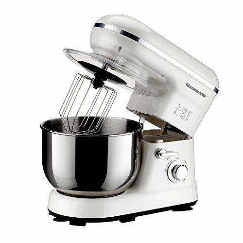 Homeleader multifunktion Küchenmaschine Rührmaschine Knetmaschine 800W, 5L Rührschüssel mit Spritzschutz , 5-stufige Arbeitsgeschwindigkeiten Weiß