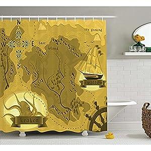 Yeuss Kraken Cortina de ducha decorativa, diseño vintage de mapamundi de fantasía con un rastrillo y brújula, diseño de pirata, juego de decoración de baño de tela con ganchos, mostaza de 152 x 182 cm