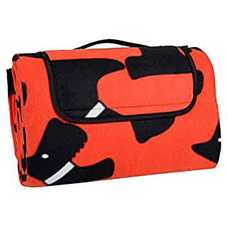 Azuma 130 x 150cm Folding Picnic Blanket Waterproof Backing Scotty Dogs Fleece Rug Mat