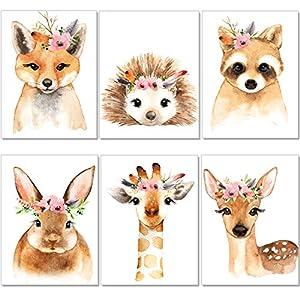 artpin® 6er Set Poster Kinderzimmer – A4 Bilder Babyzimmer – Boho Deko Mädchen Wandbilder (P39)