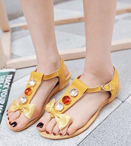 Aisun Damen Schleifen Strass Zehentrenner T-Spange Knöchelriemchen Keilabsatz Sandalen Gelb