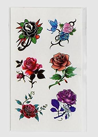 GYMNLJY Tatouages autocollants Environmental Protection mode cicatrice pâte imperméable hommes et femmes belles fleurs tatouage Stickers tatouages temporaires (Pack de 20 feuilles) , 10.5*6cm