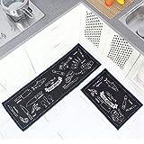 TankerStreet 2 Stück Küchenteppiche Küchenläufer Waschbar Teppich Küchenmatte Schön Pattern Teppichläufer Rutschfeste Ölbeweismatte Matte für Toilette Esszimmer Schlafzimmer 40×60 + 40x120CM Schwarz - 7