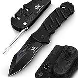 Wolfgangs AUXILUM Zweihand Rettungsmesser aus 440C Stahl - mit Glasbrecher & Gurtschneider - Survival Klapp-Messer Outdoor-Messer