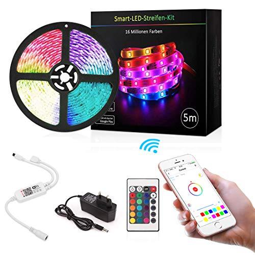 LED Licht Streifen 5m, Alexa LED Strip,Sync mit Musik, 16 Mio Farben steuerbar via App, WIFI RGB LED Streifen Kompatibel mit Amazon Alexa, Google Home, IFTTT,für Deko Party Weihnachten -