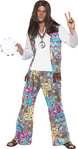 Groovy Hippy Costume for Adults. Includes top with attached waistcoat, trousers and headband. Medium or Large.