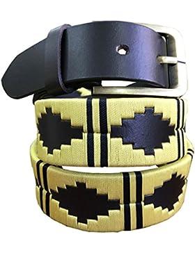Carlos Diaz Borussia Dortmund Cinturón De Polo Argentino De Cuero Marrón Bordado Para Hombres Y Mujeres Unisex