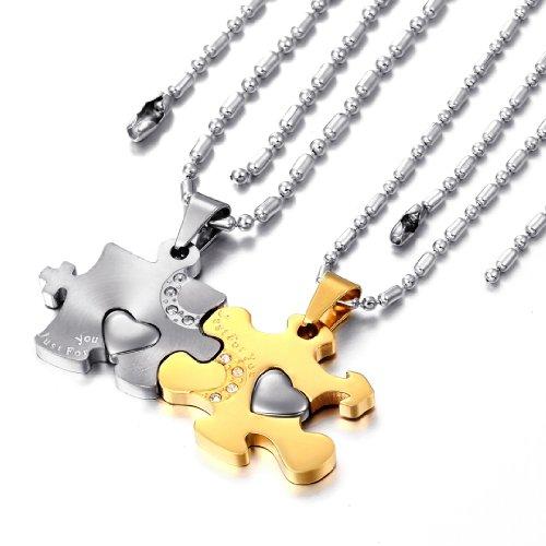 """JewelryWe Schmuck 2 Freundschaftsketten Halsketten """"Just For You"""" Liebe Edelstahl Puzzle Herz Anhänger für Damen & Herren Gold/Silber"""