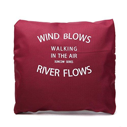 Reisen Tasche, Tezoo Faltbar Wasserdicht Ultra Weich mit Reißverschluss Große Kapazität Beutel Aufbewahrung-Tasche Handtasche Umhängetasche Rosa Weinrot