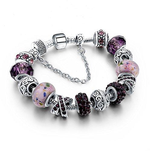 Armband Armreif,Schmuck Geschenk, Jewellery European Charm Bracelets for Women 925 Silver Chain Bracelets & Bangles DIY Jewelry Pulseras SBR160158 Purple (14-karat Gold Charm Bracelet)