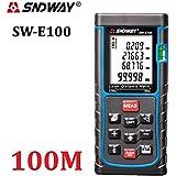 sndway® télémètre laser numérique portable mesure Ruban adhésif avec niveau à bulle laser rangefiner Gamme Finder 0,05à 40m/50m/60m/70m/80m/100m, grand écran LCD avec rétroéclairage