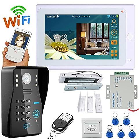 mountainone 17,8cm TFT Wired/Wireless WiFi RFID Passwort Video Türsprechanlage Türklingel Intercom System mit Elektrische Tür Magnetic Lock 180KG + IR-Cut hd1000tvl Kamera