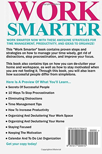Image of Work Smarter: Ultimate Work Smarter Superhuman Guide! - Stop Procrastination And Get Stuff Done Today With 25 Easy To Implement Time Management And Productivity Ideas To Organize Your Work And Life!